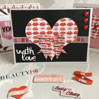 Card made using the Dovecraft Kiss and Makeup collection