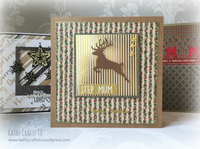 Leaping stag traditional Christmas card